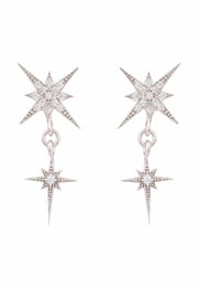 Star Burst Double Drops Earrings silver - LATELITA