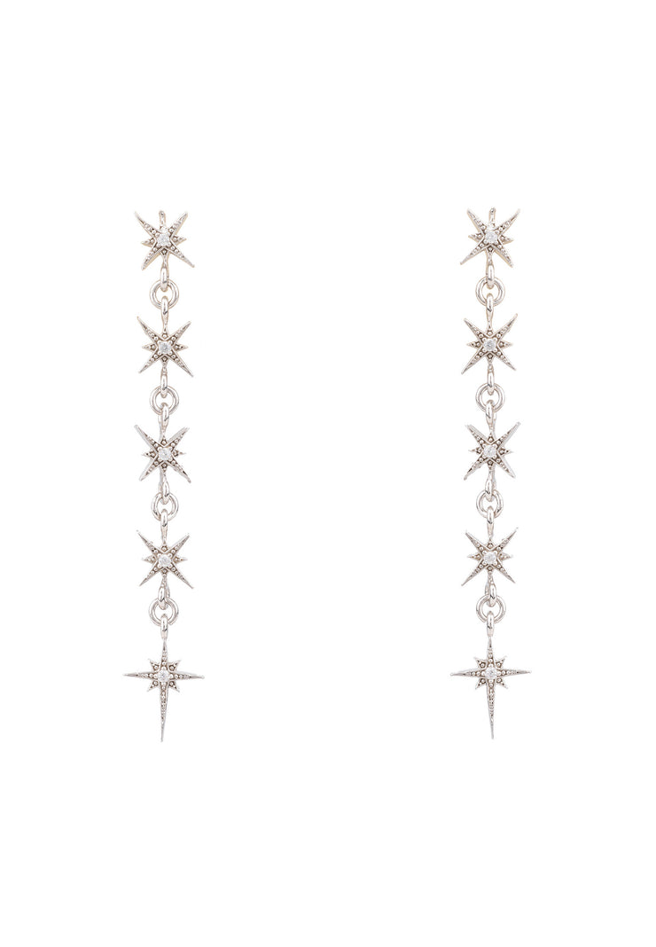 Star Burst 5 Drops Earrings silver - LATELITA
