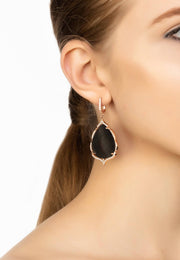 Antoinette Earrings Grey Mother of Pearl Rosegold - LATELITA