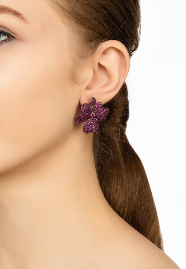 Flower Large Stud Earrings Ruby Rose Gold - LATELITA