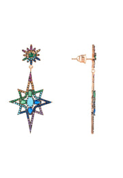 Northern Star Burst Multi Coloured Gemstone Earrings Rosegold - LATELITA