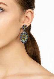 Babylon Multicoloured Flower Drop Earring Rosegold - LATELITA