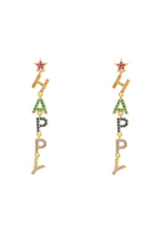 Happy Rainbow Drops Earrings Gold - LATELITA