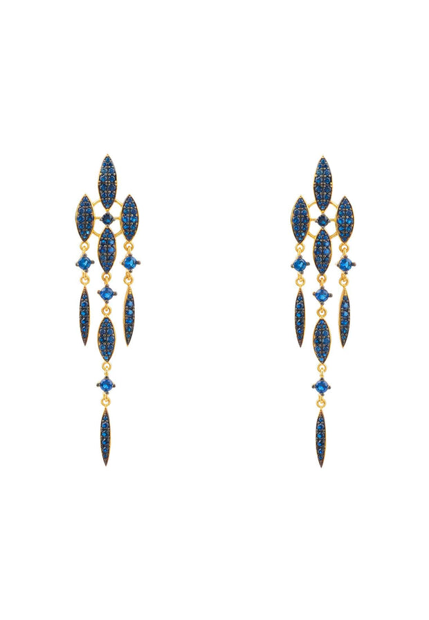 Valencia Statement Drop Earring Sapphire Blue CZ Gold - LATELITA