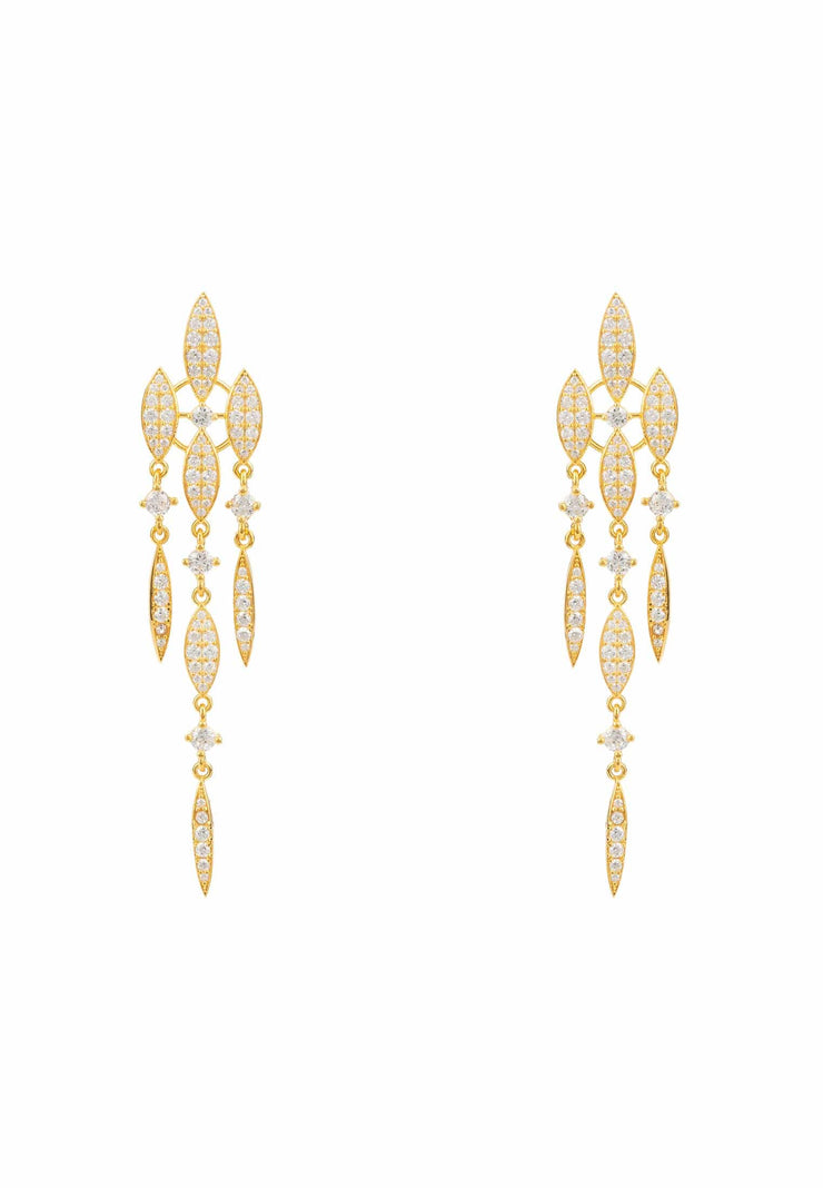 Valencia Statement Drop Earring White CZ Gold - LATELITA