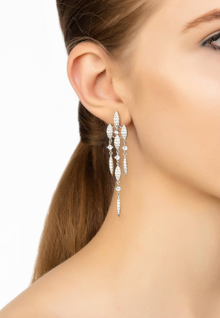 Valencia Statement Drop Earring White CZ Silver - LATELITA