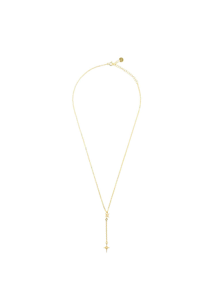 North Star Burst Mini Drop Necklace Gold - LATELITA