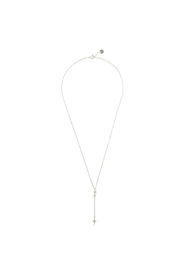 North Star Burst Mini Drop Necklace Silver - LATELITA