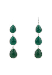 Triple Drop Earring Silver Green Onyx - LATELITA