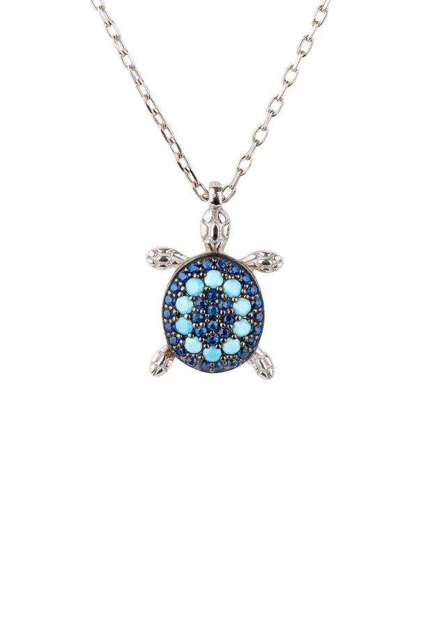Turtle Turquoise Blue Pendant Necklace silver - LATELITA