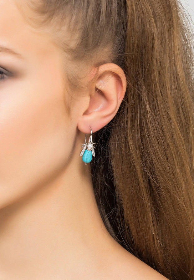 Turquoise Honey Bee Earrings Silver - LATELITA