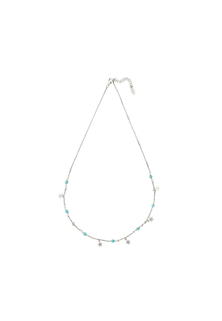 Turquoise Star Choker Necklace Silver - LATELITA