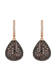 Valerie Pear Drop Gemstone Earring Rosegold Chocolate CZ - LATELITA