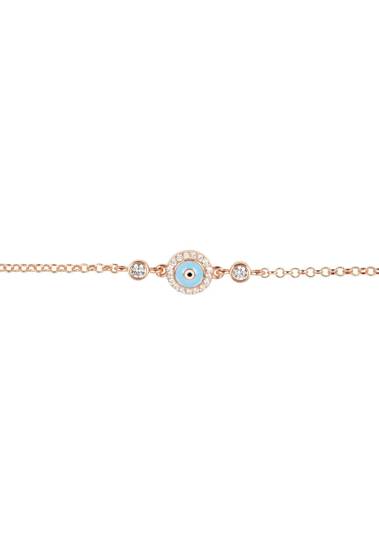 Evil Eye Enamel Light Blue Bracelet Rosegold - LATELITA