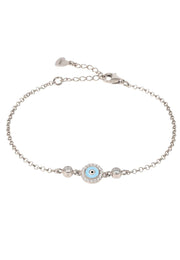 Evil Eye Enamel Light Blue Bracelet Silver - LATELITA