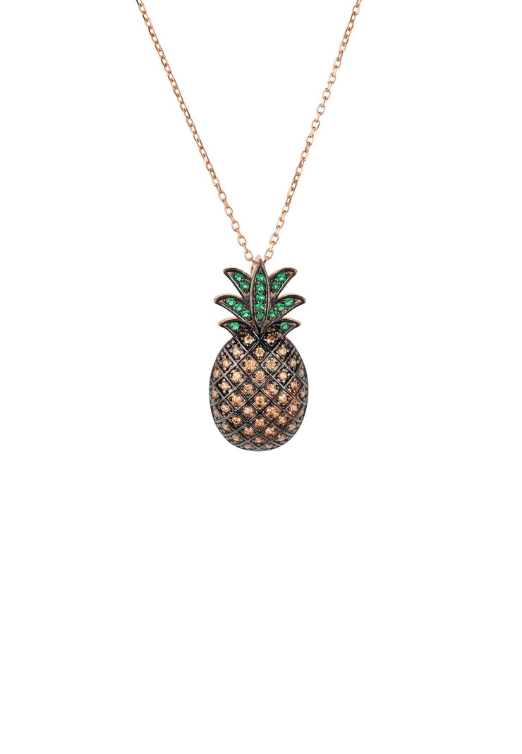Pineapple Large Colourful Pendant Gemstone Necklace Rosegold - LATELITA
