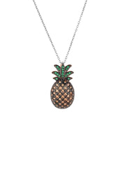 Pineapple Large Colourful Pendant Gemstone Necklace Silver - LATELITA