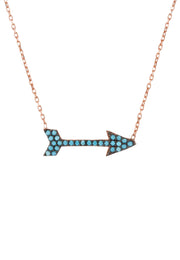 Arrow Necklace Blue Turquoise Gemstone Rosegold - LATELITA