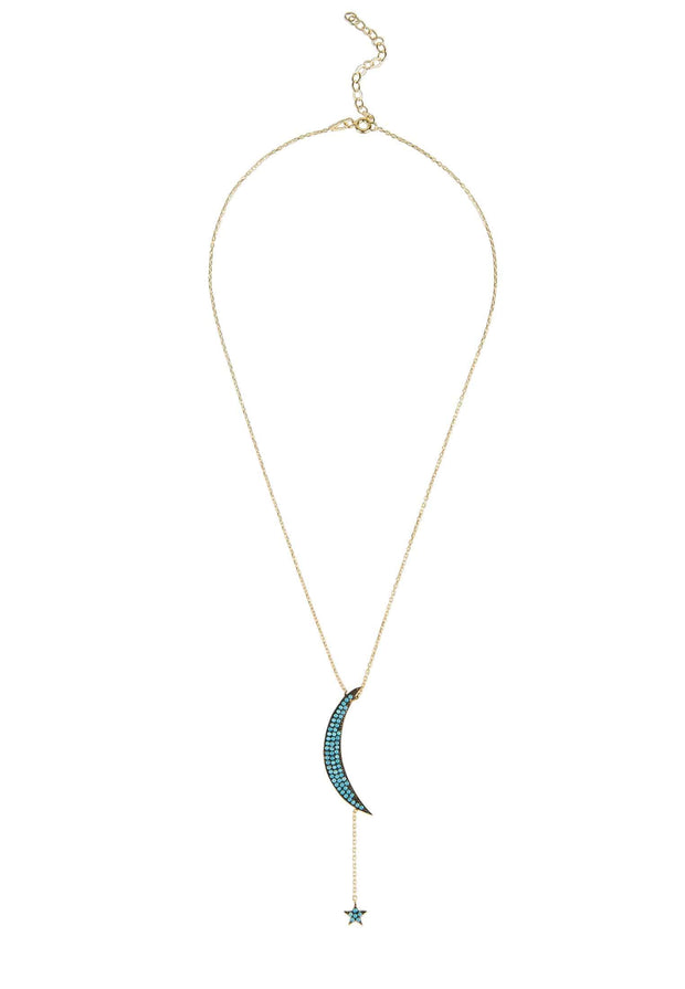 Moon & Star Large Pendant Necklace Blue Turquoise Rosegold - LATELITA