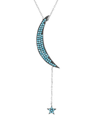 Moon & Star Large Pendant Necklace Blue Turquoise Silver - LATELITA