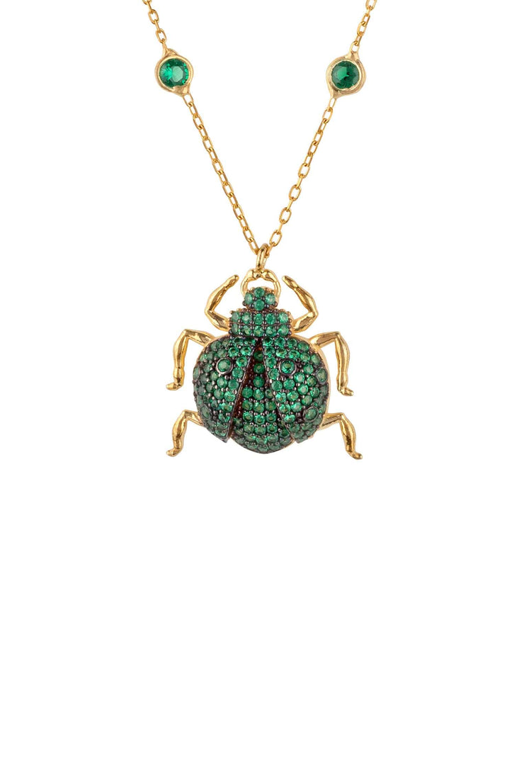 Scarab Beetle Egyptian Green Pendant Necklace Gold - LATELITA