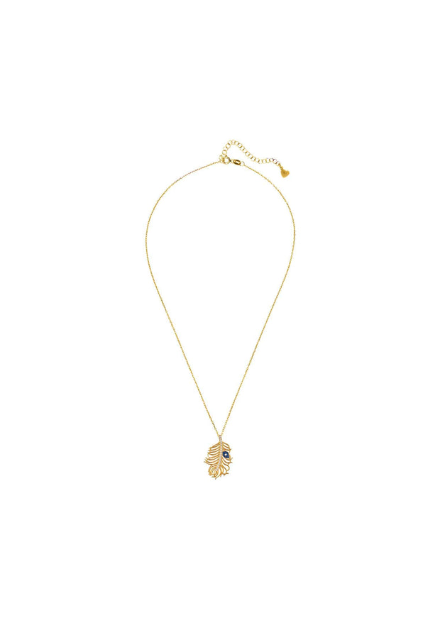 Peacock Feather Evil Eye Necklace Gold - LATELITA