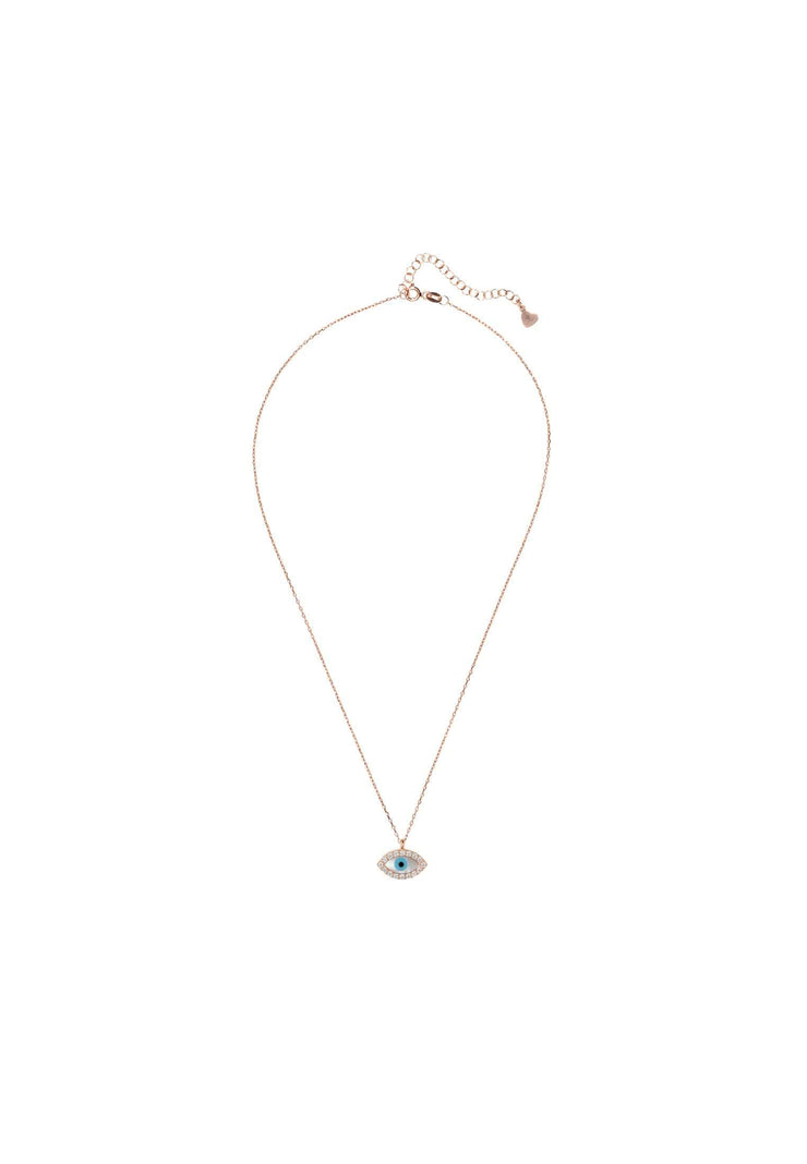 Evil Eye Eliptical Mother of Pearl Necklace Rosegold - LATELITA