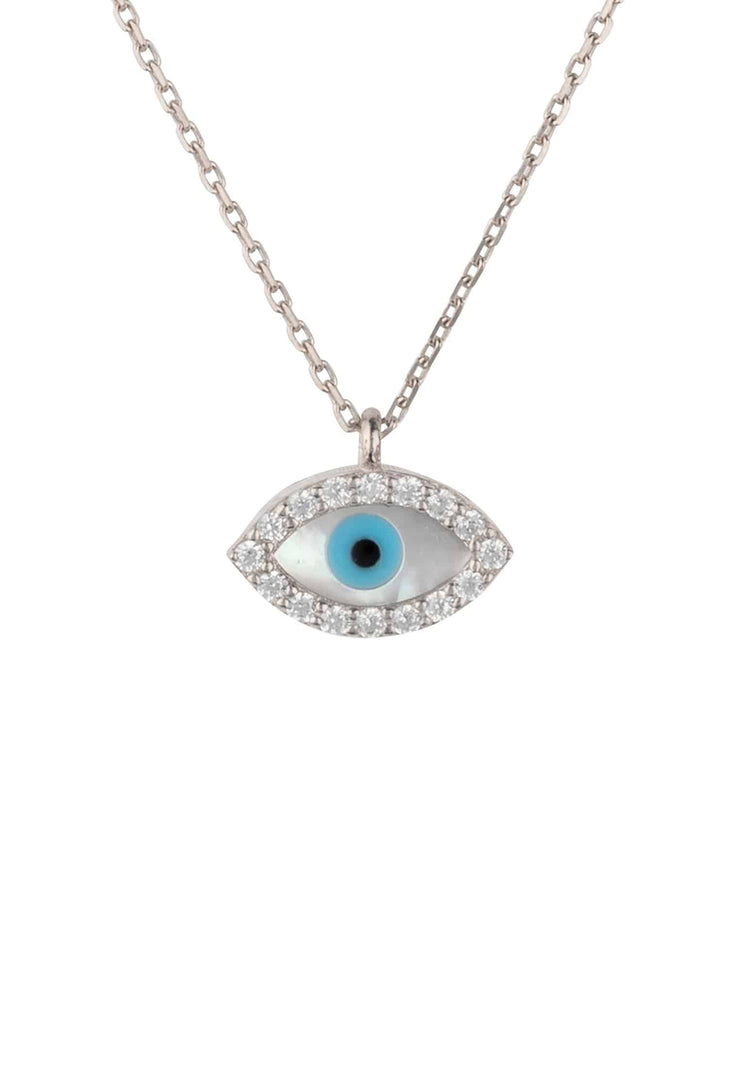 Evil Eye Eliptical Mother of Pearl Necklace Silver - LATELITA