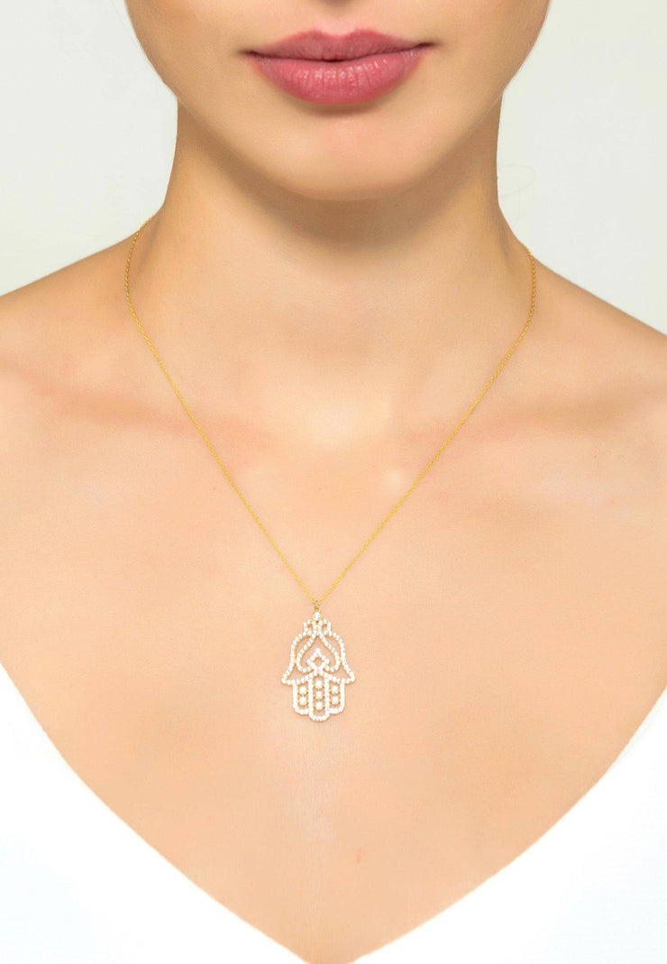 Large Hand of Fatima Filigree Hamsa Necklace Rosegold - LATELITA