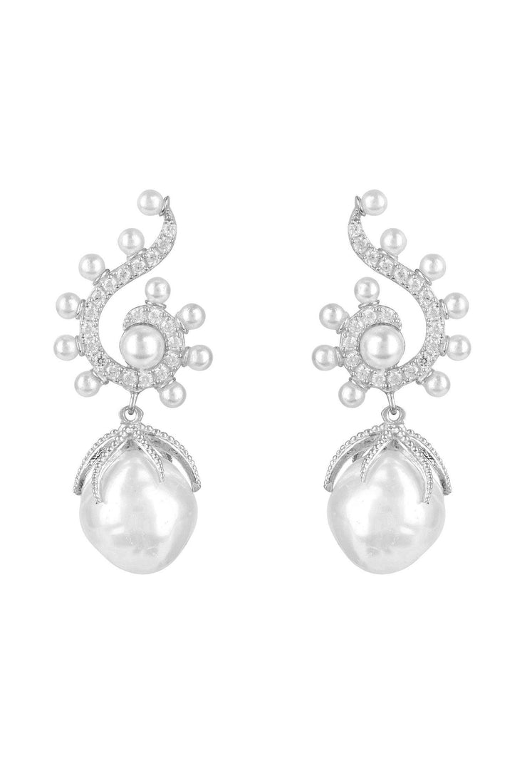 Baroque Pearl Poseidon Gemstone Drop Earrings White Silver - LATELITA