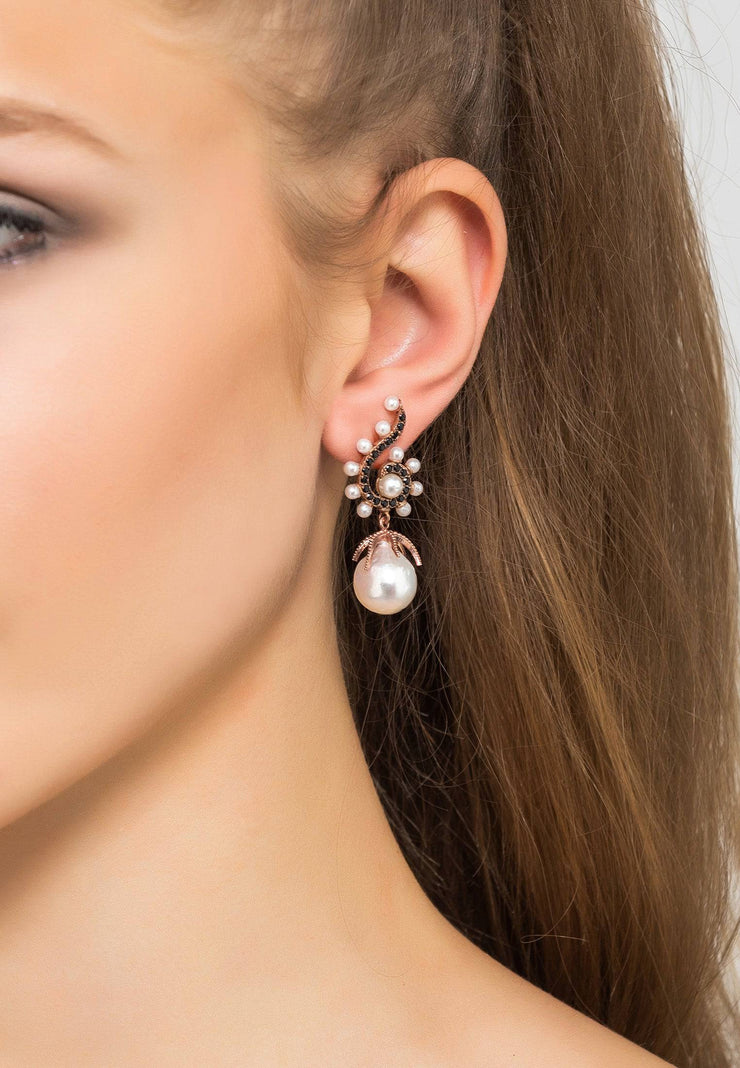 Baroque Pearl Poseidon Gemstone Drop Earrings Black Silver - LATELITA