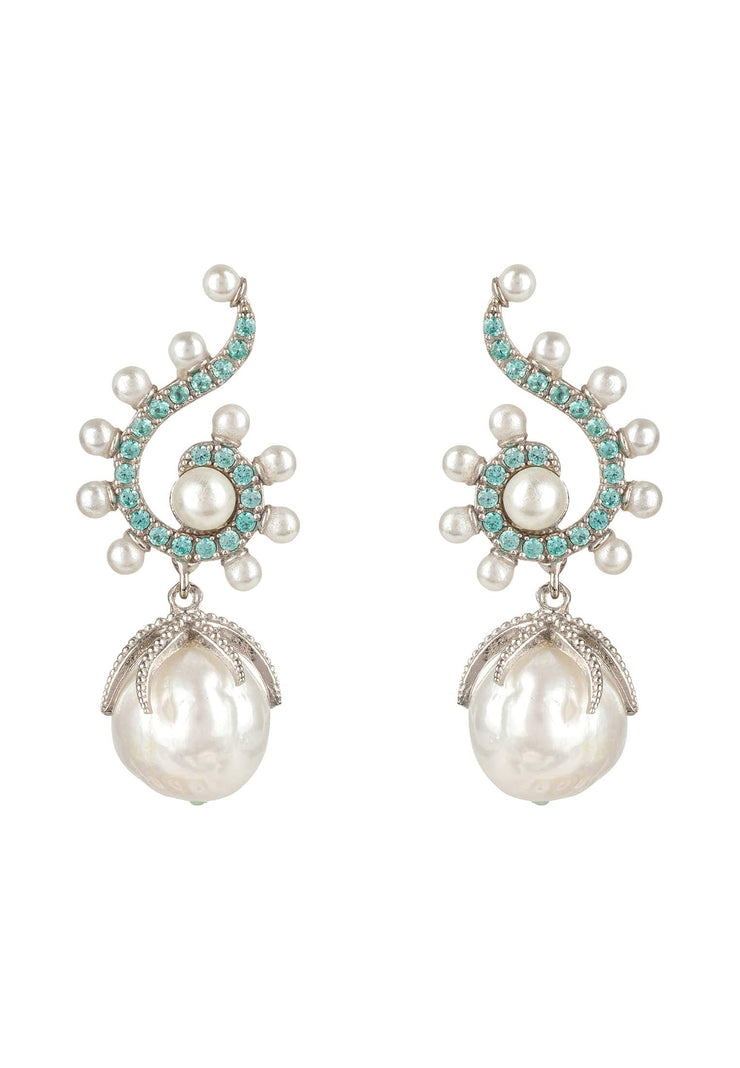 Baroque Pearl Poseidon Gemstone Drop Earrings Aqua Silver - LATELITA