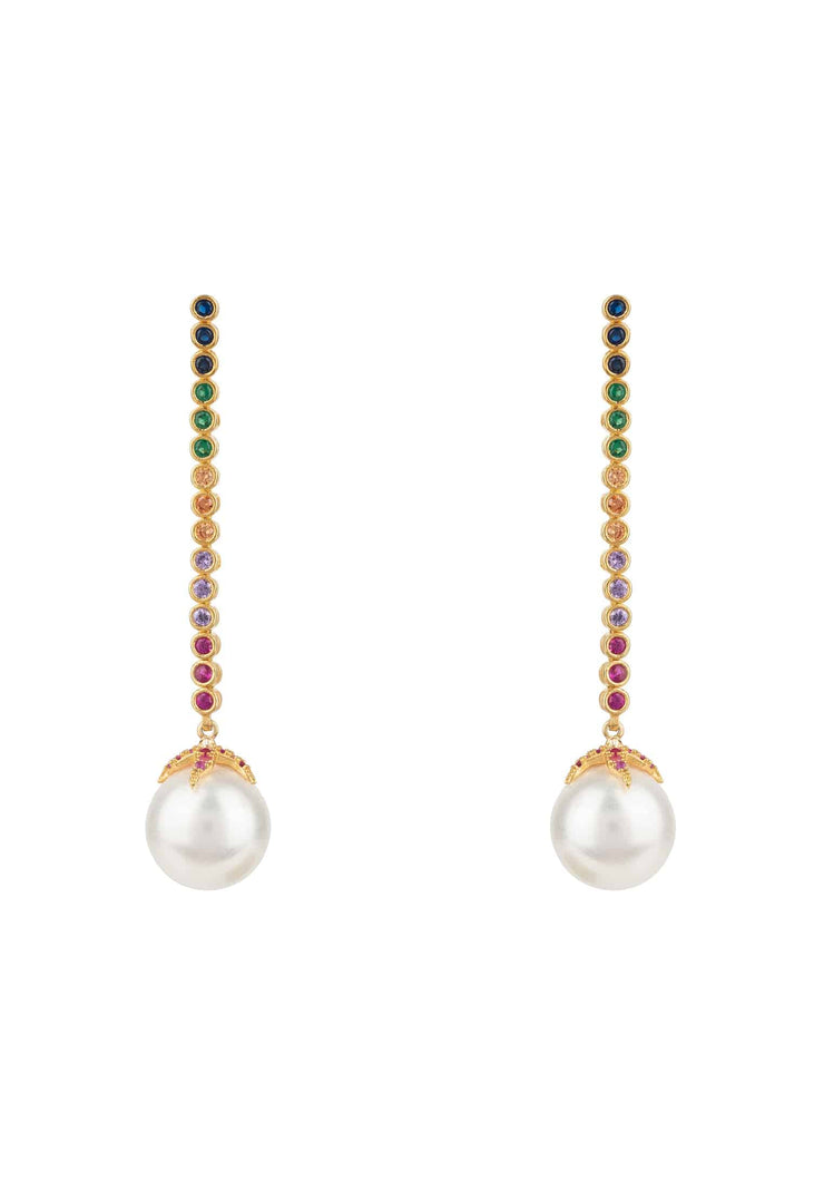 Pearl Majorica Long Rainbow Drop Earrings Gold - LATELITA