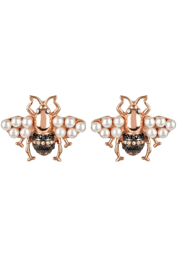Honey Bee Pearl Stud Earrings Rosegold - LATELITA