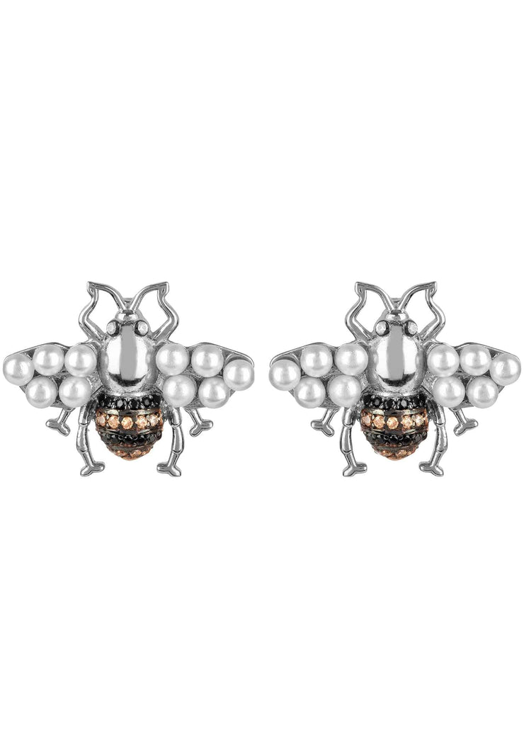 Honey Bee Pearl Stud Earrings Silver - LATELITA