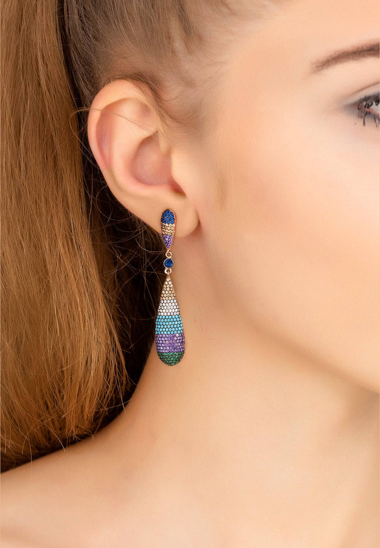 Coco Long Drop Earrings Rainbow Rosegold - LATELITA