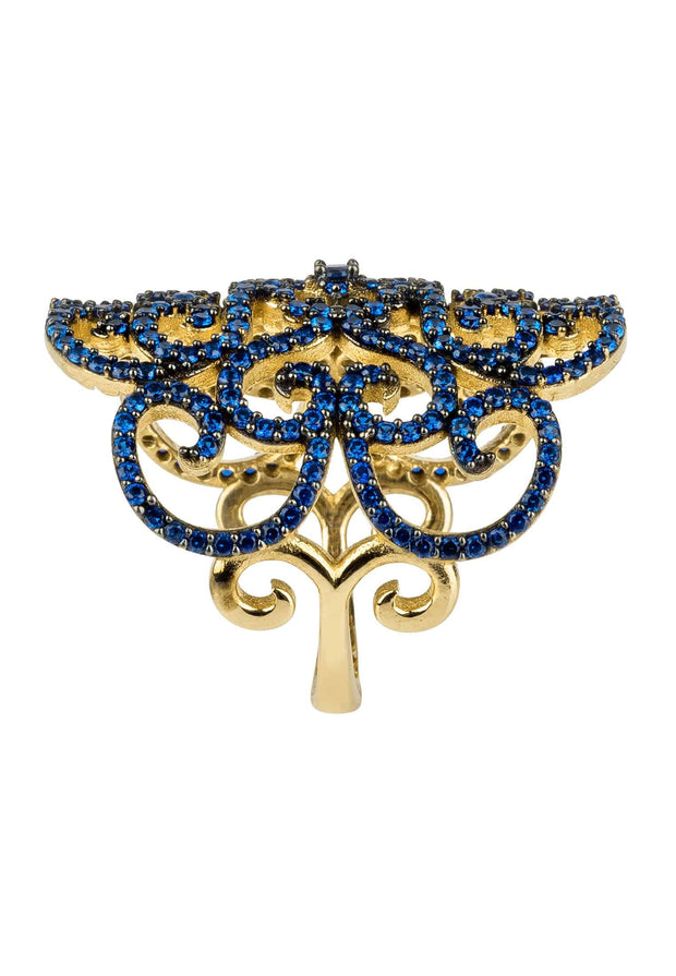 Countess Filigree Cocktail Ring Sapphire Blue Gold - LATELITA