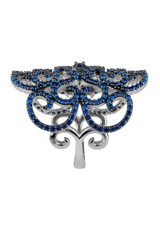 Countess Filigree Cocktail Ring Sapphire Silver - LATELITA