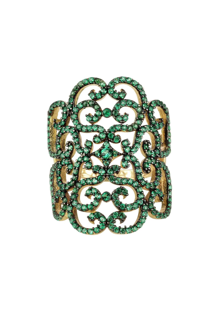 Countess Filigree Cocktail Ring Emerald Green Gold - LATELITA