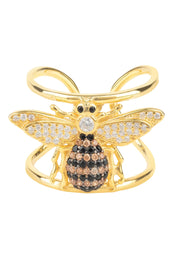 Honey Bee Cocktail Ring Adjustable Gold - LATELITA