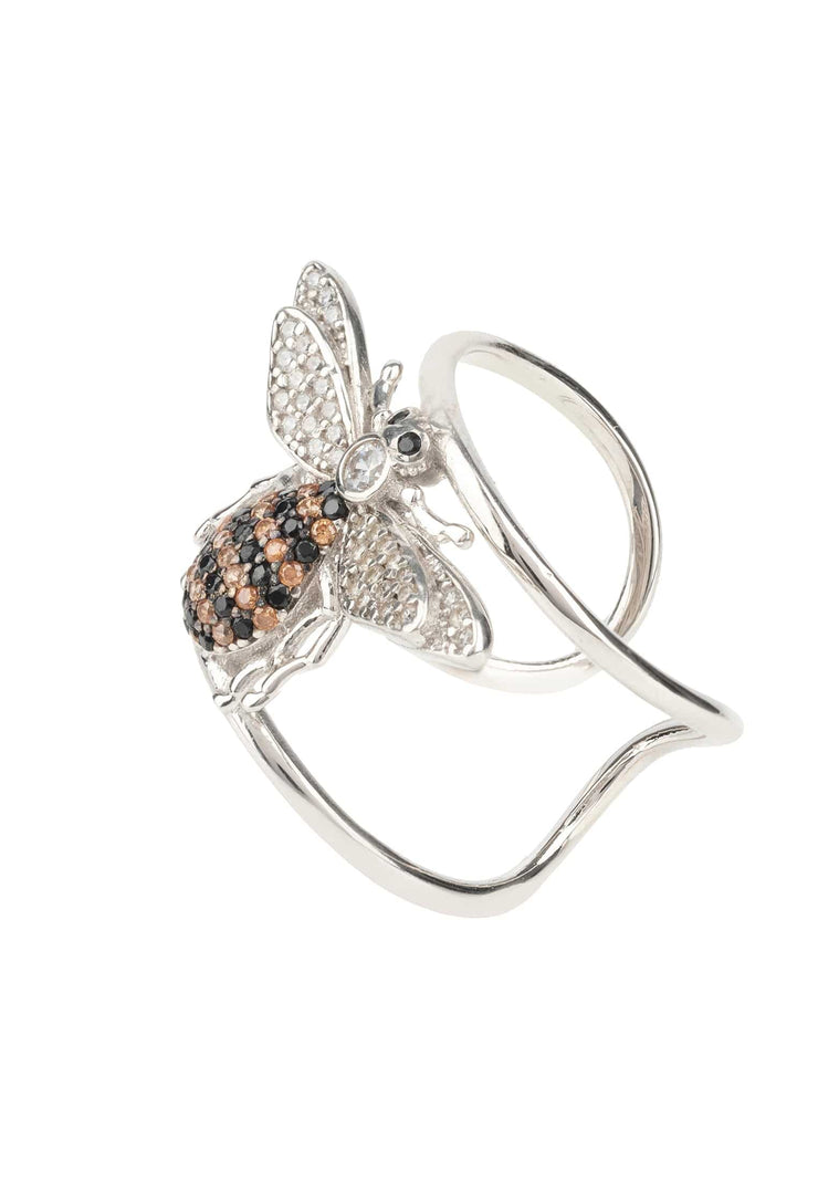 Honey Bee Cocktail Ring Adjustable Silver - LATELITA