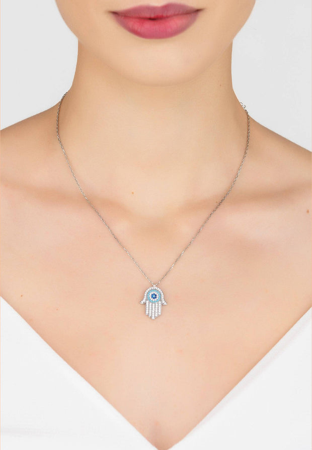 Hamsa Hand with Evil Eye Pendant Necklace Turquoise Silver - LATELITA