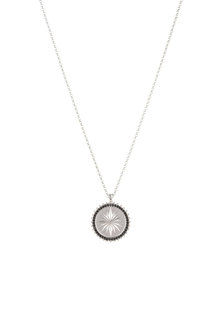 Reversible Moral Compass Starburst Pendant Necklace Silver - LATELITA