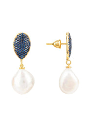 Baroque Pearl Classic Drop Earrings Gold Sapphire Blue CZ - LATELITA
