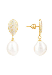 Baroque Pearl Classic Drop Earrings gold - LATELITA