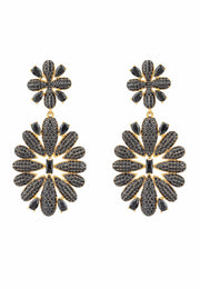Babylon Flower Drop Earrings Gold Black - LATELITA
