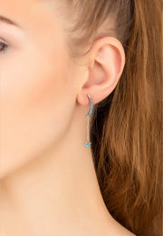 Moon & Star Drop Earrings Blue Turquoise silver - LATELITA