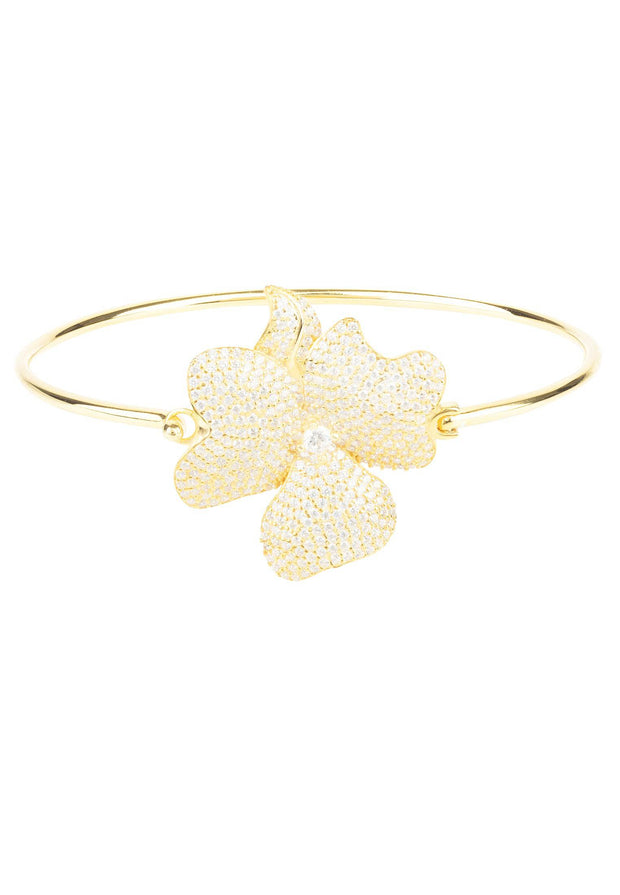 Flower Large Statement Cuff Bracelet gold - LATELITA