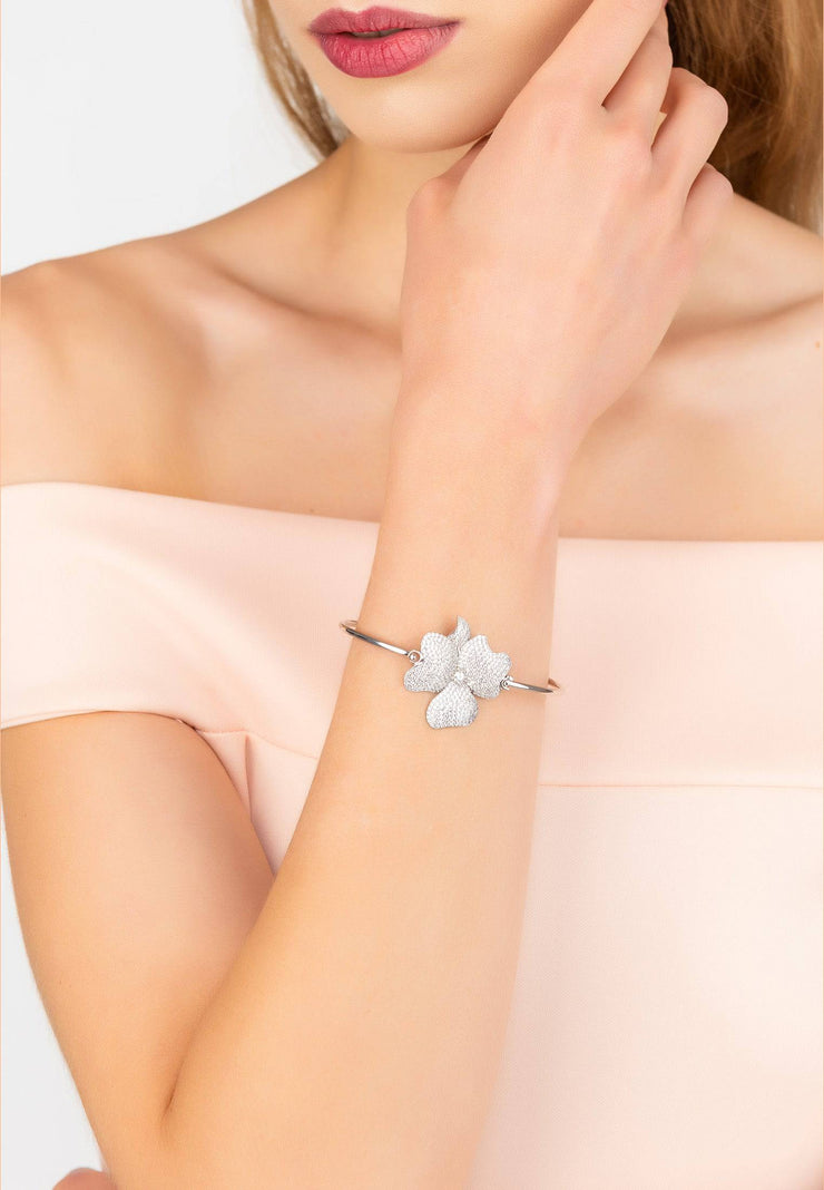 Flower Large Statement Cuff Bracelet silver - LATELITA