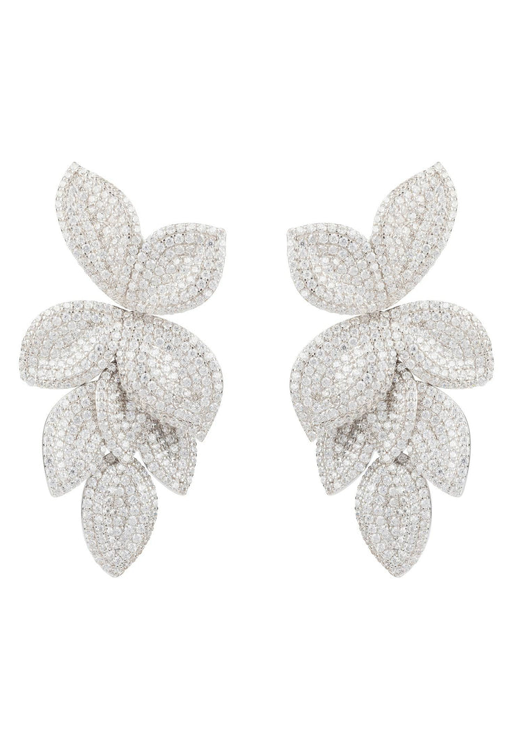 Petal Cascading Flower Earrings silver - LATELITA
